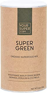 Super Green Superfood Mix by Your Super | Plant Based Immune System Support | Powder Greens Blend | Immunity Support | Essential Vitamins & Minerals | Non-GMO, Organic Ingredients