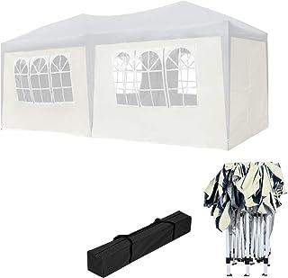HENGMEI Gartenpavillon Faltbare Pavillon 3x6m Faltpavillon Gartenzelt Partyzelt Sonnenschutz (3x6m, mit Seitenteilen, Beige)