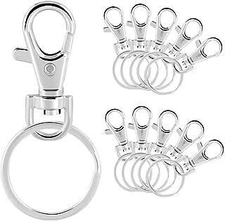 Sleutelringhaken, 50 stuks metalen draaibare sleutelringen, afneembare metalen sleutelhanger, voor sleutels, accessoires, ...