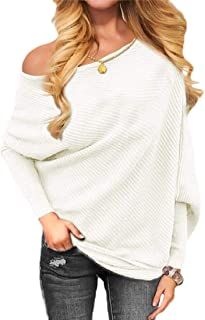 Womens Off Shoulder Long Sleeve Pullover Knit Jumper Baggy Solid Sweater