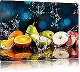 Früchte im Wasser, Format: 80x60 auf Leinwand, XXL riesige