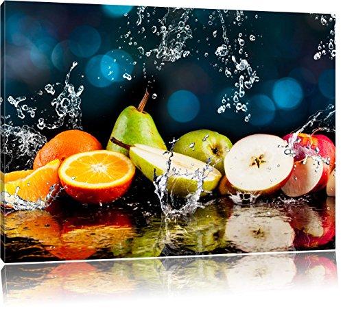 Früchte im Wasser, Format: 120x80 auf Leinwand, XXL riesige Bilder fertig gerahmt mit Keilrahmen, Kunstdruck auf Wandbild mit Rahmen, günstiger als Gemälde oder Ölbild, kein Poster oder Plakat