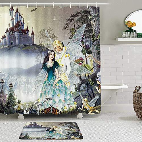 RUBEITA 2-teiliges Duschvorhang-& Matten-Set,Prinzessin Retro Romantik Prinzessin Prinz EL,rutschfeste Teppiche,wasserdichte Badvorhänge mit 12 Haken