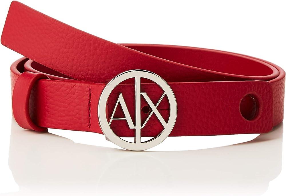 Armani exchange circle logo belt, cintura per donna,100% pelle 9411180A87603739