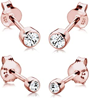 Elli Women's 925 Sterling Silver Xilion Cut Swarovski Crystals Stud Earrings