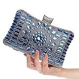 Bolso de mano RUIIO, de lujo, para mujer, de diamantes, azul, 20*12*6cm
