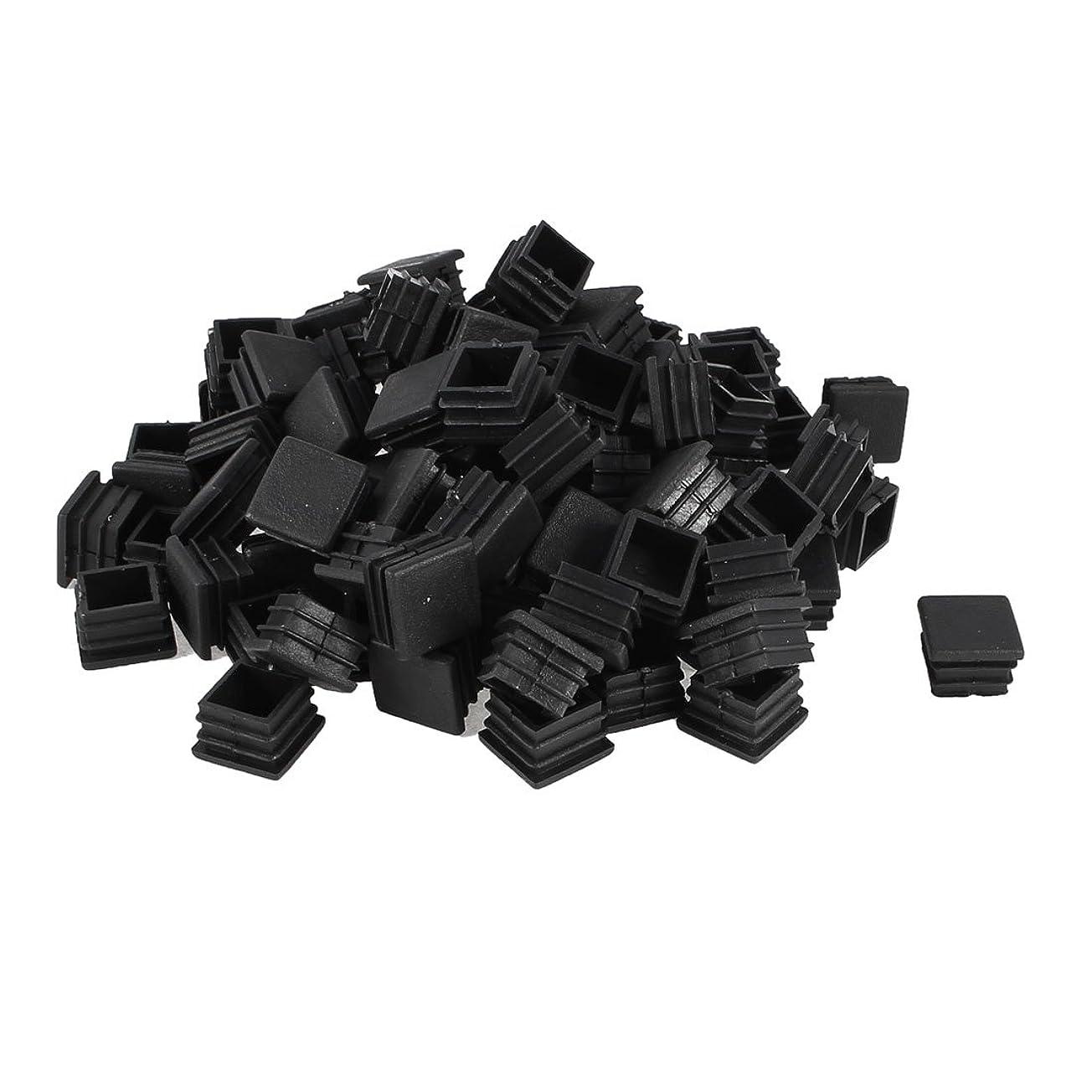 協力的ストレージアクセルuxcell 家具脚カバー 防音 傷防止 パイプキャップ 長方形品 パイプ蓋 プラスチック ブラック 20 x 20mm 100個