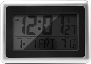 Atomic Digital Wall Clock, Large Lcd Display, Battery Operate'd, Indoor Temperature, Calendar, Table Standing, Snooze With...