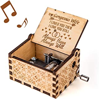 You are My Sunshine Music Box, Gift for Wife from Husband, Vintage Wooden Hand Crank for Wedding Anniversary/Valentine's Day/Birthday