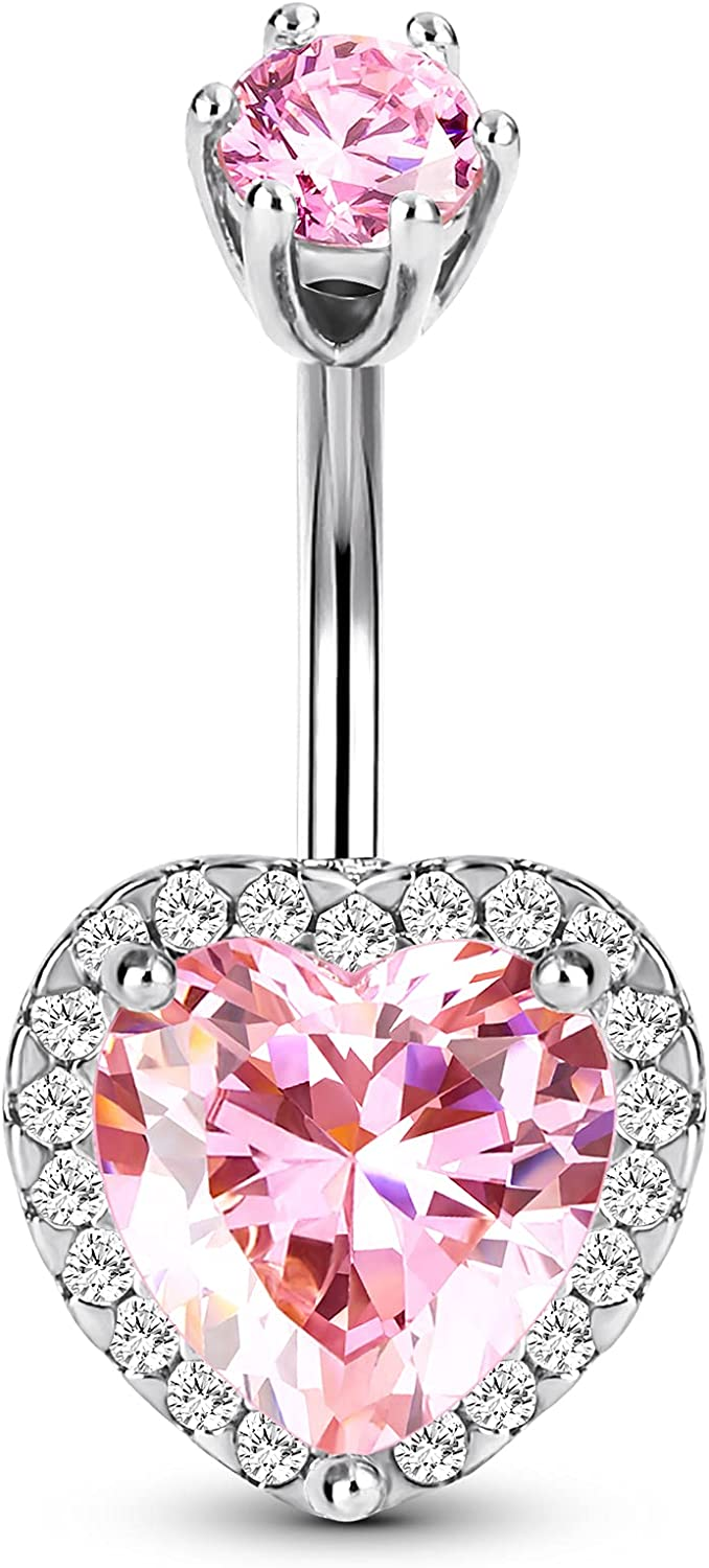CM Crareesi Mania Heart Belly Ring 316L Surgical Steel Elegant Belly Button Piercing Jewelry 14G Pink Cubic Zirconia Belly Button Rings for gilrs and Women Shiny Style Belly Piercing