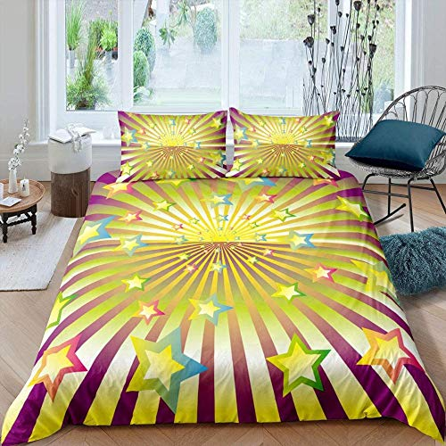 Fadaseo Bed Reversable Quilt Duvet Cover Set Easy Care Anti-Allergic Soft & Smooth With Pillow Cases - Abstract Rainbow Stars Stripes Geometric Pattern (260 X 220 Cm)