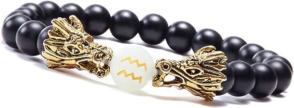 sedmart Mens Dragon Zodiac Bracelet Luminous Black Onyx Beads Bracelets Handmade 12 Constellations Glow in Dark Friendship Bracelet Jewelry for Women Men