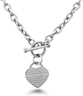 Stainless Steel Love Never Fails 1 Corinthians 13: 6-8 Heart Charm, Necklace Only