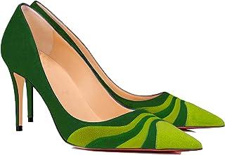 LEHOOR Women Rainbow Kitten Heels Pumps Pointed Toe Suede Stiletto, 3 inch High Heel Pumps Multicolor Closed Toe Classic f...