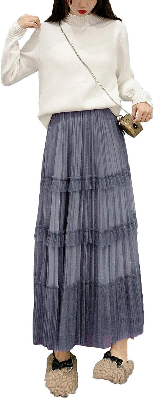 lookwoild Women Casual Midi Skirt High Waist Layered Polka Dot Mesh Skirt Pleated A-Line Swing Skirt Y2K Clubwear (Grey2, One Size)