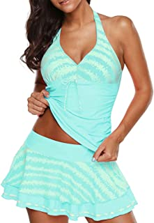 Women's Halter Three-Piece Tankini Split Bikini Set, AmyDong Plus Size Push-Up Padded Bra Skirt Swimwear Swimsuit with Shorts