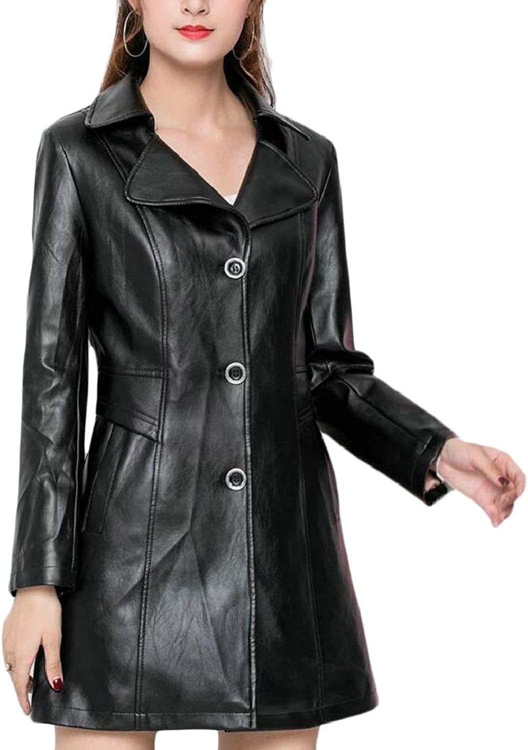 QDCACA Women's Fashion Button Front Faux Leather Blazer Coat Jackets