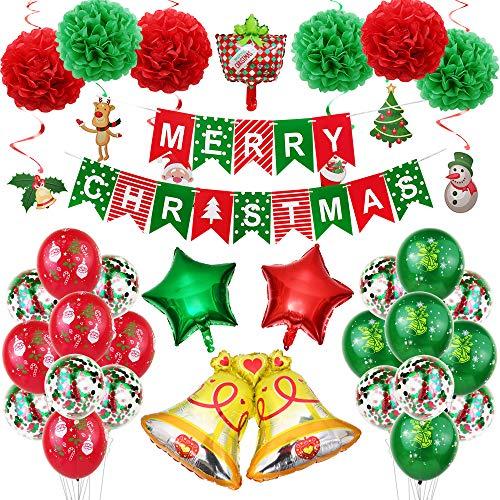 Decorazioni natalizie, kit di decorazioni per feste per la famiglia include striscione natalizia, palloncino stampato con Babbo Natale, stella a cinque punte in lattice Palloncino di coriandoli.