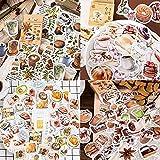 180 Pcs Aufkleber der Café-Serie, Sticker Vintage Aufkleber Scrapbooking Aufkleber für Scrapbook Kalender Notizbuch Tagebuch Fotoalbum DIY Dekoration, 4 Kisten
