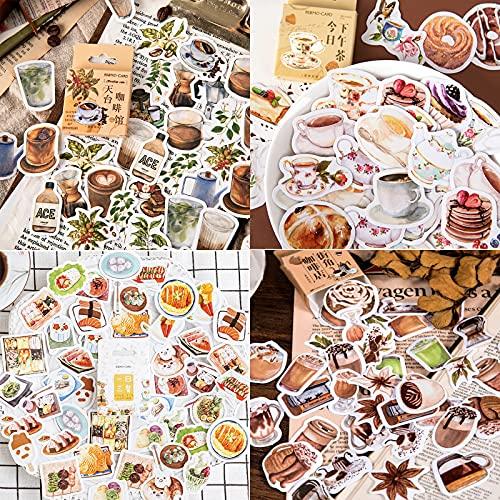Adesivi per Scrapbooking(180 Pz), 4 scatole Vintage Adesivi in diversi stili per Album Calendari Biglietti d'auguri Regali Fai da Te Decorazione, Adesivi per Valigie, Cafe serie