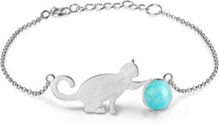 Lotus Fun S925 Sterling Silver Bracelet Cat Playing Balls Adjustable Bracelets with Chain Length 6.5''-7.6'', Handmade Unique Jewelry Gifts for Women and Teen Girl