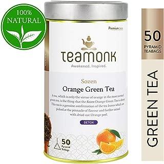 Teamonk Sozen Nilgiri Orange Detox Green Tea Bags - 50 Teabags | Detox Tea | Tea for Detoxification | Natural Orange Tea | No Additives