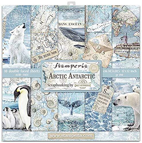 STAMPERIA INTL, KFT (3PL) Papierblock, 30,5 x 30,5 cm, Arktis Antarktis, 10 Designs je 1 Stück