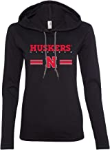 CornBorn Nebraska Tee Shirt - Women's Long Sleeve Hooded Huskers Stripe Block N