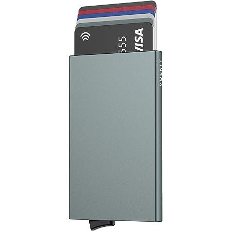 VULKIT Alpha Tarjeteros para Tarjetas Bloqueo de RFID Pop up Automatico Cartera Tarjetero de Aluminio Hombre o Mujer para 5 Tarjetas Gris Espacio