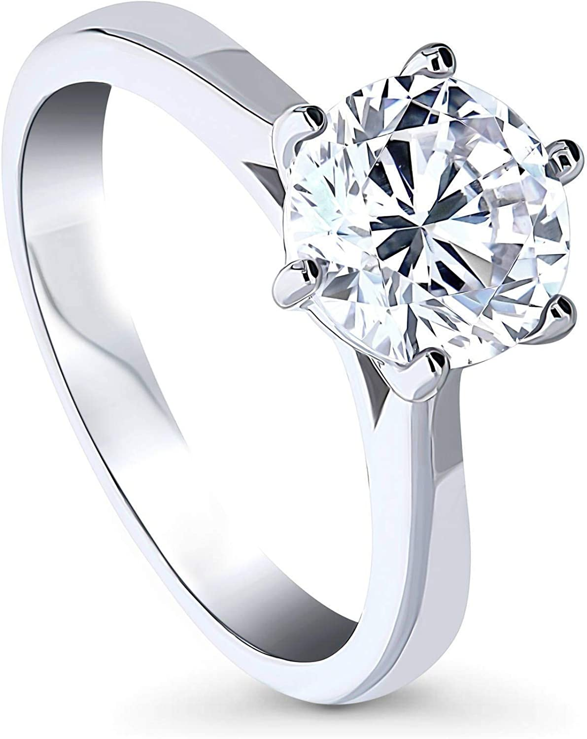 BERRICLE Rhodium Plated Gifts Sterling Silver Award-winning store Round CZ Zirconia Cubic