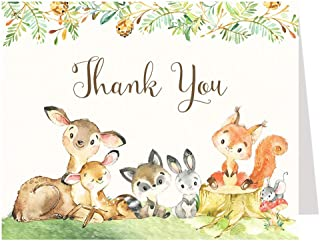 Watercolor Woodland Friends Thank You Cards Baby Shower Forest Animals Sprinkle Folding Thank You Notes Letter Writing Stationary Deer Rabbit Fox Zoo Birthday Party Gender Neutral Unisex (50 Count)