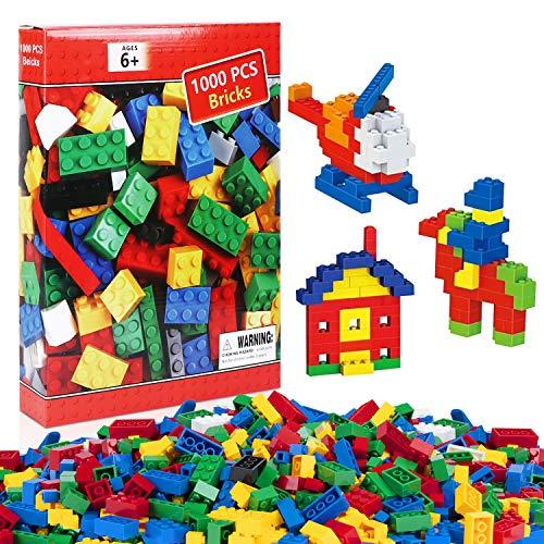 iNeego Bausteine 1000 Stück Bauklötze Spielzeug Hochbau Ziegel Bunte Spielzeug Spielen Spiel für Kleinkind Jungen Mädchen Unisex Kühle Lernspielzeug Kompatibel mit den Meisten Großen Markenblöcken