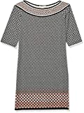 Lark & Ro Women's Half Sleeve Shift Dress, Black/Blush Dot, X-Large