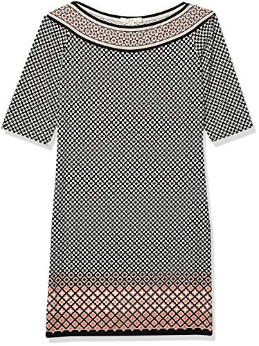 Lark & Ro Women's Half Sleeve Shift Dress, Black/Blush Dot, Large