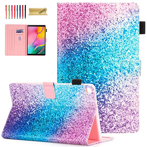 Dteck Cover for Samsung Galaxy Tab A 10.1 Case 2019, Tablet Case for Samsung Tab A 10.1' SM-T510 Case, Premium Leather Multi Angle Stand Cover with Card Slots/Pencil Holder, Rainbow Sand