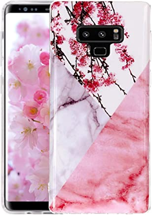 Galaxy Note 9 Case, Pink White Marble W/Cherry Flower Design, ZAOX Clear Bumper Flexible TPU Soft Rubber Silicone Protective Cover Slim Anti-Scratch Shockproof Phone Case for Samsung Galaxy Note 9