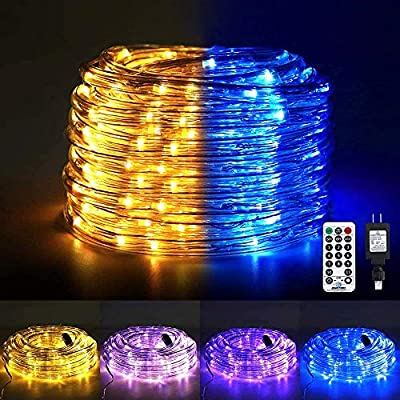 Ollny Led Rope Lights Color Changing 120 LED 23ft Tube Lights Waterproof Strip Lights connectable Twinkle Light Plug in with Remote 11Modes Timer for bedroom Indoor Christmas Party Garden Outdoor Blue