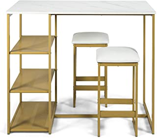 COSTWAY 3-Piece Dining Set, Compact 2 Chairs and Table Set, Kitchen Set with Rectangular Faux Marble, 3 Metal Storage Shelves, Fashionable Simple Style, Kitchen Counter Height Table Set (Gold)