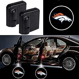 For Fit Denver Broncos Car Door Led Welcome Laser Projector Car Door Courtesy Light Suitable Fit for all brands of cars (Fit Denver Broncos)