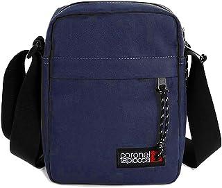 Bolso para Hombre Bolso Bandolera Coronel Tapiocca Casual con Solapa Bolsillos y Cremallera Denim 17.5 x 22 x 5.6 cm Azul ...