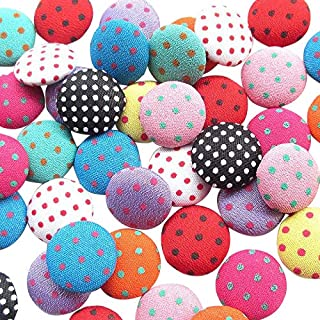 "Chenkou Craft 100pcs 12MM(1/2"") Polka Dot Flatback Fabric Covered Button Scrapbooking Craft (Multi-Color)"