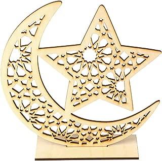 Konxxtt Home Decor, Eid Mubarak Ramadan Wooden Plaque Ornament Muslim Islam Hanging Party Supplies(A,20x5x20cm/7.9x1.9x7.9)