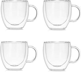 Marooma Lot de 4 tasses à café en verre, 150 ml à double paroi isolée, en verre borosilicate résistant à la chaleur, avec ...