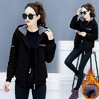 Qiyun Women Winter Casual Jacket Fleece Hooded Sweater Student Loose Coat