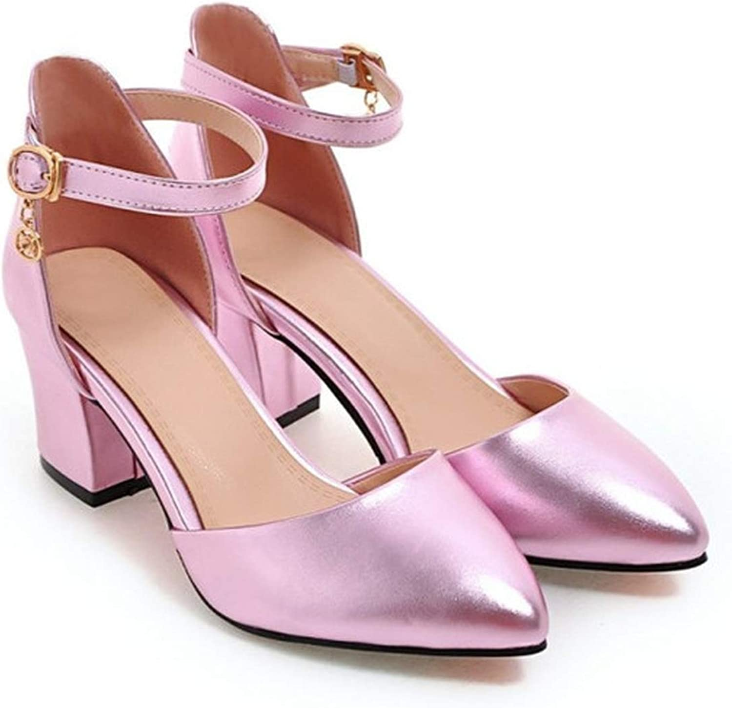 Thick High Heels shoes Pump Women Spring Ankle Strap Wedding shoes Silver Pointed Toe Two Piece Pumps Big Size