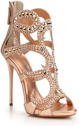 Kaitzen Femmes Sandales Chaussures Chaussures Chaussures Cristal Strass Mode Peep Toe Talons Hauts Stiletto Court Bottes Mode Pompe Soirée afe
