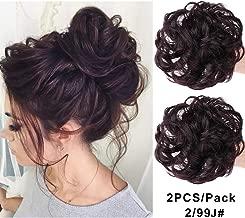 MORICA Messy Bun Hair Scrunchies 2PCS Messy Bun Hair Piece for Women Curly Wavy Scrunchy Updo Bun Extensions(Color:2/99J#)
