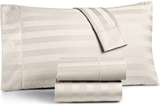 Charter Club Damask Stripe 550 Thread Count Supima Cotton King Extra Deep 4 Piece Sheet Set Ivory