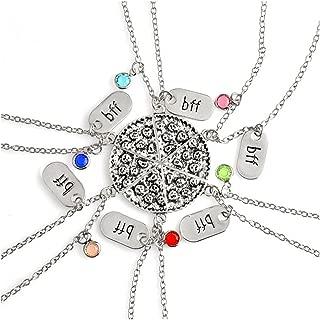 6pcs/lot Bling Silver Friend Friendship Couple Pizza Metal Necklace