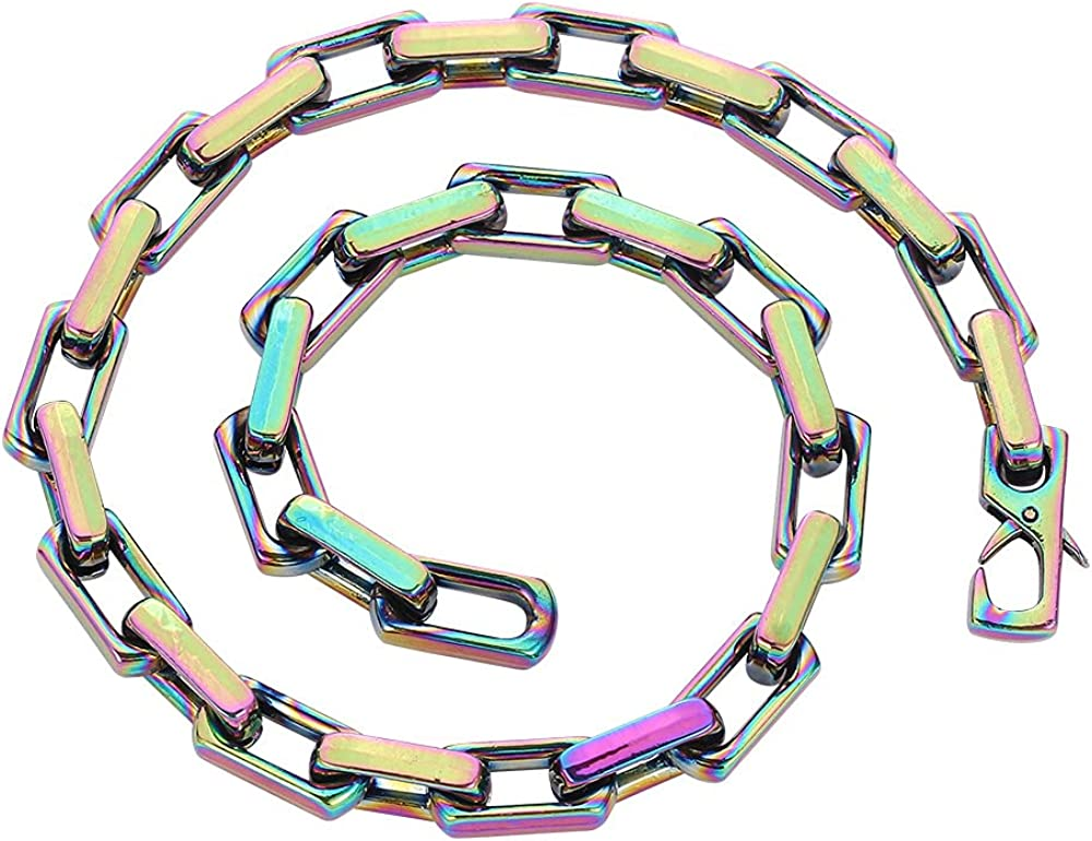 Apzzic Paperclip Link Chain Hip Hop Polished Cuban Link Chain Necklace Gold Plated Rainbow Colorful Necklace for Men Women 18.5Inch